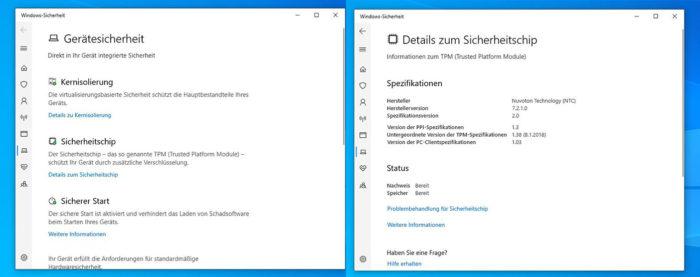 Trusted Platform Module: Screenshots der Gerätesicherheit von Windows 10. Bild: PC-SPEZIALIST
