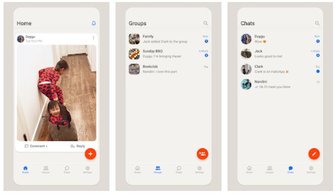 Darstellung von Hallo App: Schlichtes Grau mit roten Button. Bild: Screenshot Google Play Store