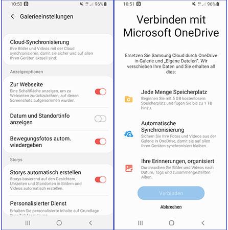 Samsung-Cloud endet: Handy-Screenshots mit Cloud-Einstellungen für OneDrive. Bild: PC-SPEZIALIST