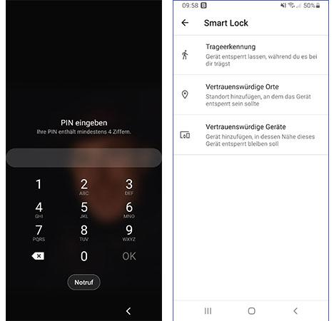 Android Smart Lock: Zwei Screenshots, montiert zu einem Bild. links: Sperrbildschirm mit der Aufforderung, PIN einzugeben, rechts Einstellungen zu Android Smart Lock. Bilder: PC-SPEZIALIST