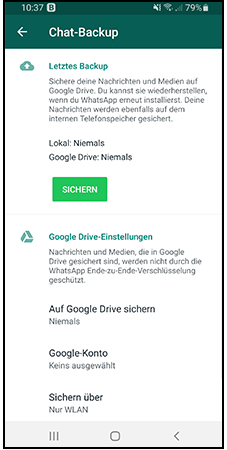 Brute Force: Screenshot des Backup-Fensters von WhatsApp. Bild: Screenshot PC-SPEZIALIST
