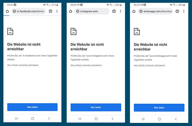 Facebook-Störung: Screenshots der Webseiten Facebook, WhatsApp und Instagram. Bild: Screenshots/Montage PC-SPEZIALIST